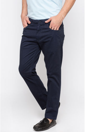 Navy Solid Slim Fit Chinos