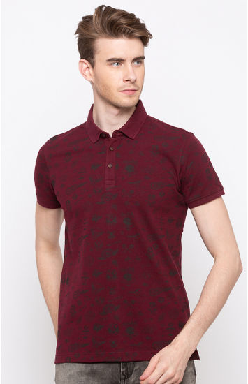 Red Printed Slim Fit Polos