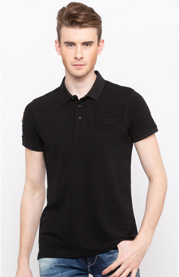 Black Solid Slim Fit Polos