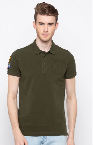 Green Solid Slim Fit Polos