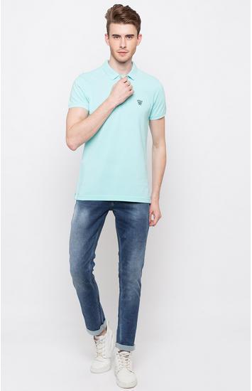 Bleached Aqua Solid Slim Fit Polo T-Shirt