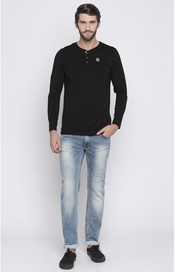 Blue Solid Regular Fit Jeans