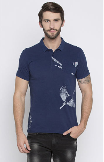 Blue Printed Slim Fit Polo T-Shirt