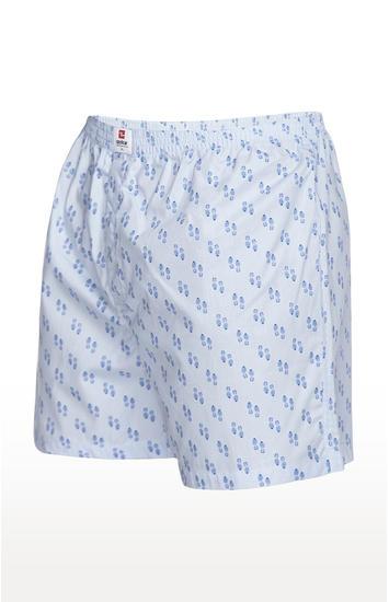 Blue Printed Slim Fit Boxers