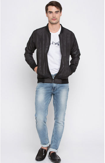 Black Solid Regular Fit Bomber Jackets