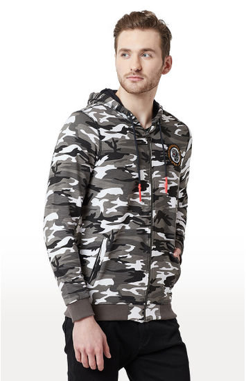 White & Black Camouflage Slim Fit Hoodies