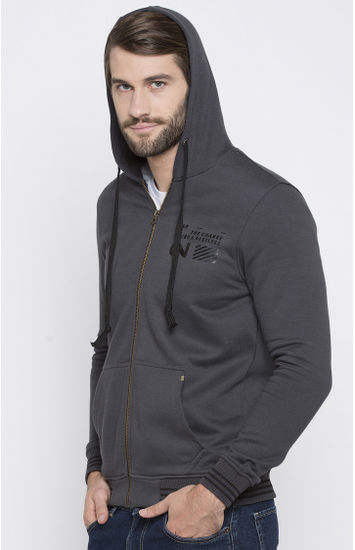 Dark Grey Printed Slim Fit Hoodies