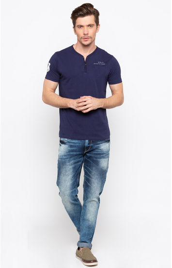 Ink Blue Solid Slim Fit T-Shirts