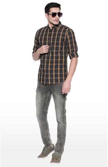 Black & Khaki Checked Slim Fit Casual Shirts