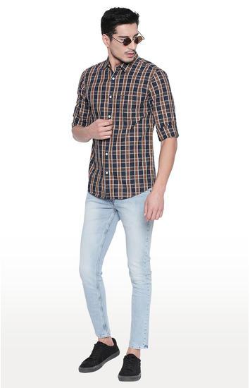Navy & Khaki Checked Slim Fit Casual Shirts