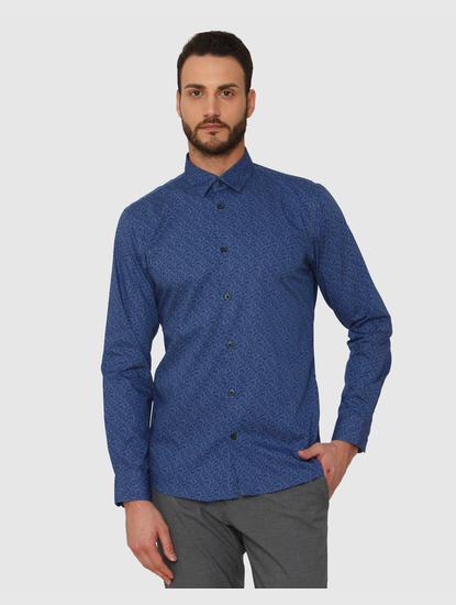 Blue Printed Slim Fit Full Sleeves Shirt