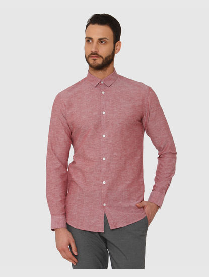Red Faded Linen Slim Fit Full Sleeves Shirt