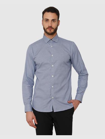 Light Blue Check Slim Fit Full Sleeves Shirt