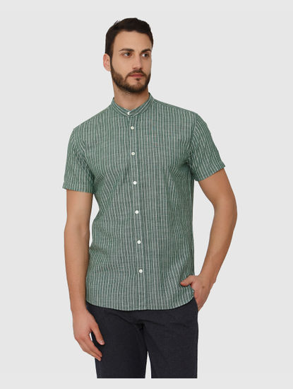 Green Striped Slim Fit Short Sleeves Shirt