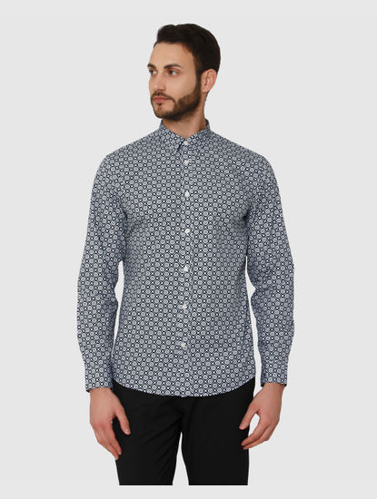 Blue All Over Geometric Print Regular Fit Full Sleeves Shirt