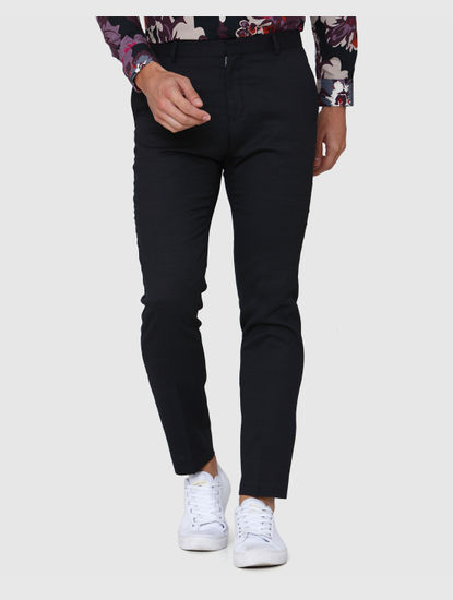 Navy Blue Formal Slim Fit Trousers