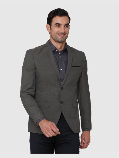 Grey Formal Slim Fit Blazer