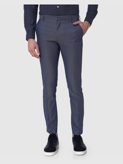 Blue Formal Slim Fit Trousers