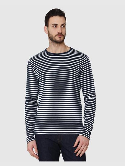 Blue Striped Crew Neck T-Shirt
