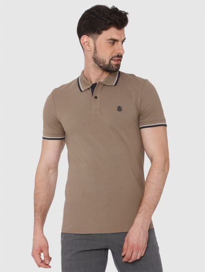 Brown Contrast Tipping Polo T-Shirt