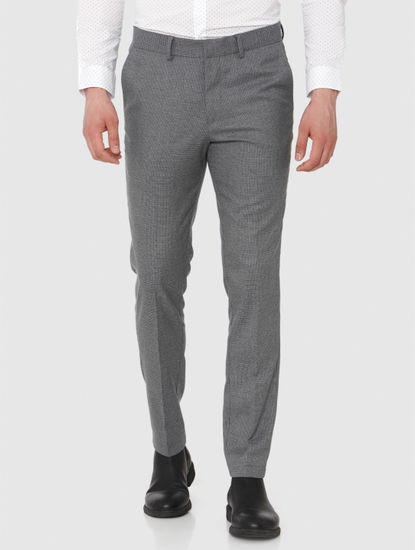 Grey Slim Fit Formal Trousers