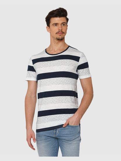 White Colour Blocked All Over Striped Print Crew Neck T-Shirt