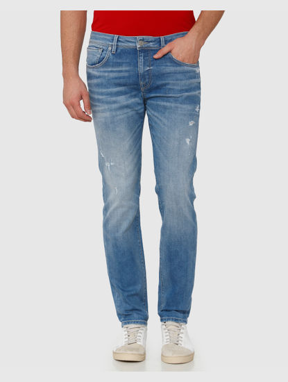 Light Blue Mid Rise Distressed Leon Slim Fit Jeans