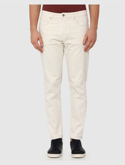 White Mid Rise Toby Tapered Fit Jeans