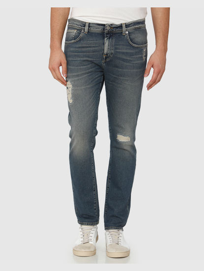 Blue Mid Rise Mildly Distressed Leon Slim Fit Jeans