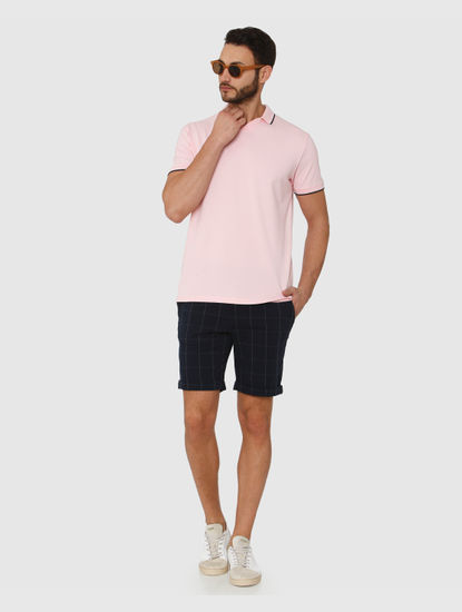 Pink Contrast Tipping Polo Neck T-Shirt