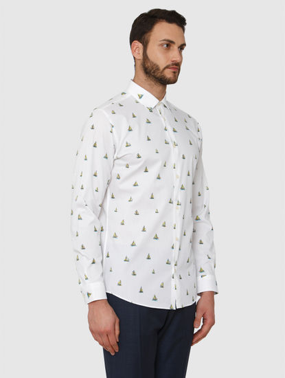 White All Over Boat Print Regular Fit Full Sleeves Shirt