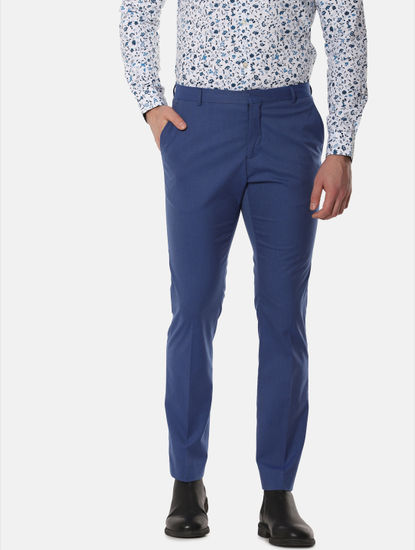 Blue Mid Rise Formal Trousers