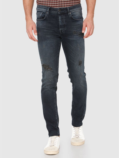 Black Ripped Pete Skinny Fit Jeans