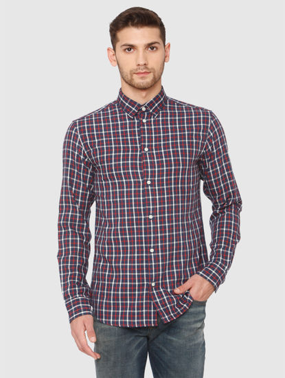 Dark Blue Check Full Sleeves Shirt