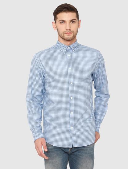 Blue Check Slim Fit Full Sleeves Shirt
