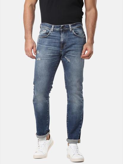 Blue Mildly Distressed Leon Slim Fit Jeans