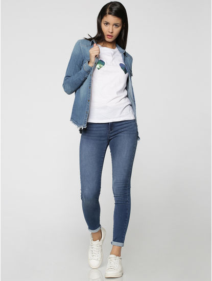 Blue High Waist Skinny Fit Jeans