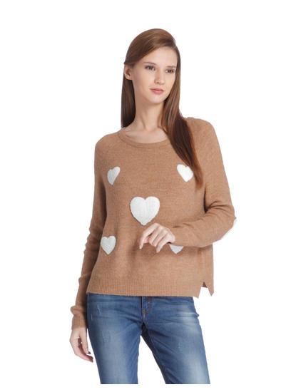 Tan Heart Print Pullover