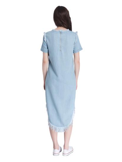 Light Blue Denim Dress with a Frayed Hem