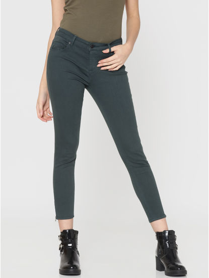 Green Mid Rise Skinny Fit Ankle Length Pants