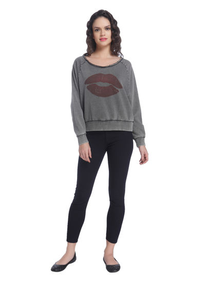 Dark Grey Boat Neck Sweatshirt With A Printed Front