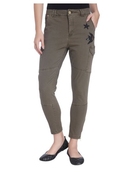 Olive Green Slim Fit Cargo Pants With Patchwork