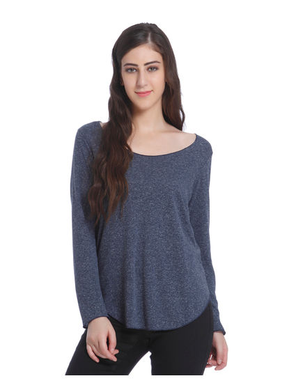 Grey Scoop Neck Knit Top