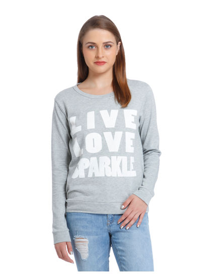 Blue Text Print Sweatshirt