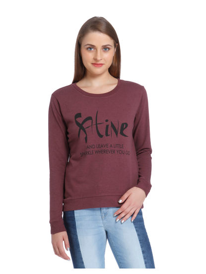 Red Slogan Print Sweatshirt
