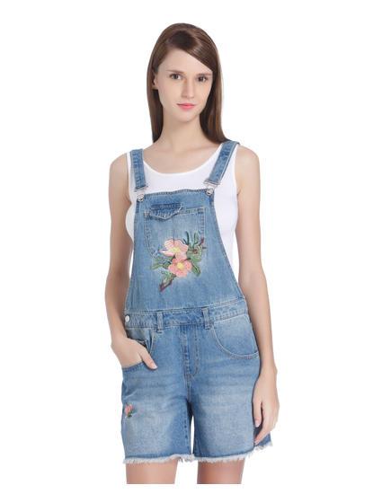 Blue Floral Embroidered Denim Short Dungarees
