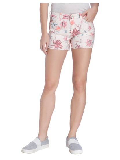 Pink Floral Print Shorts