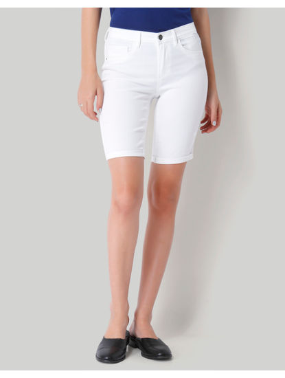 White Denim Long Mid Waist Shorts