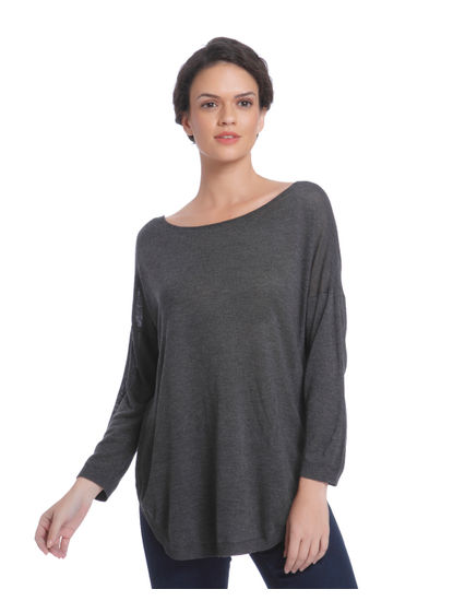 Grey Criss Cross Back Loose Fit Pullover