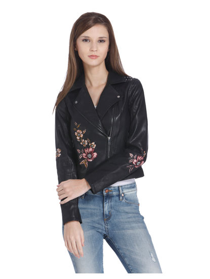 Black Floral Embroidered Biker Jacket